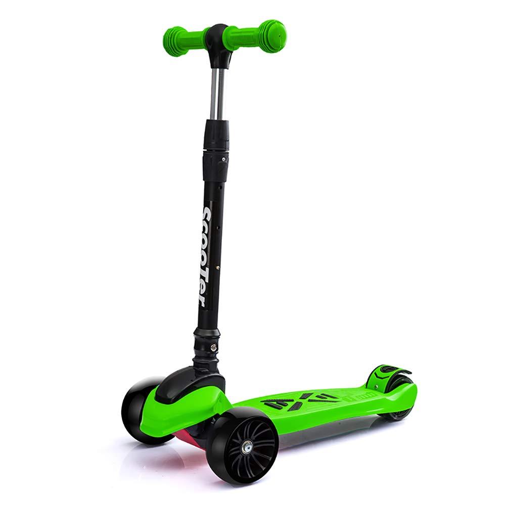 スクーター 子供のための折りたたみ可能なキックスクーター、ワイドペダルハンドルバー調節可能なTバー三輪車、3-4-6-12歳 (色 : Pink) B07M5BKRSX Green Green