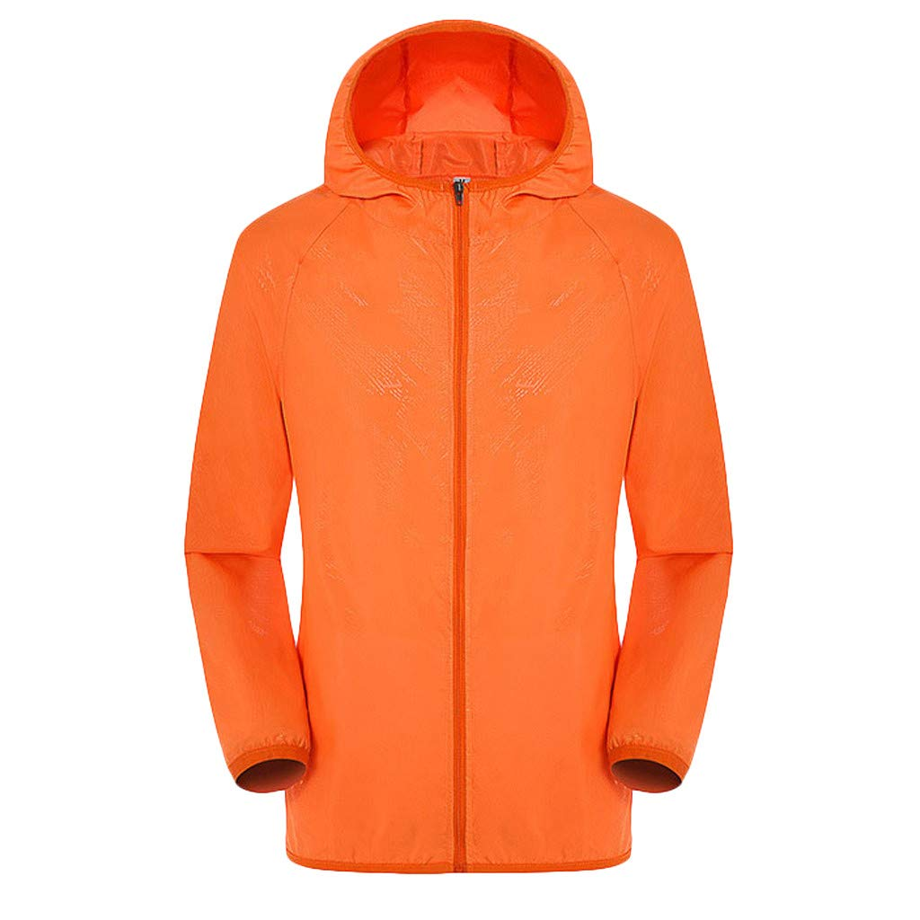 Unisex Rain Jacket Men Women Packable Outdoor Waterproof Hooded Pullover Raincoat Poncho (L, Orange) by Yihaojia Men Blouse (Image #1)