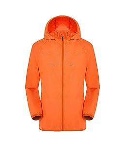 GOVOW Mens Wo Casual Jackets Windproof Ultra-Light Rainproof Windbreaker Top Outdoor Long Sleeve Hooded Riding Sunscreen Orange