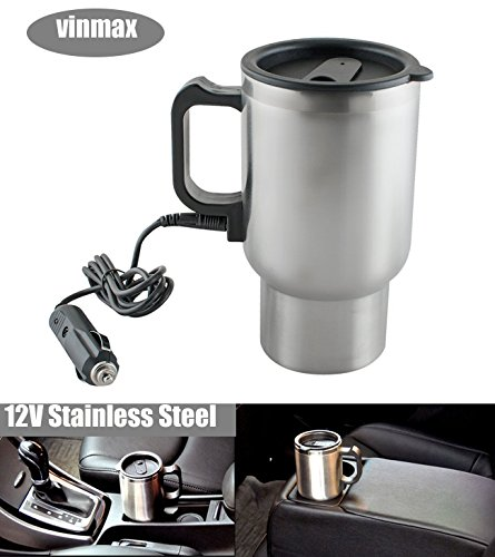 Vinmax 12V Stainless Steel Travel Coffee Mug Cup Heated Thermos