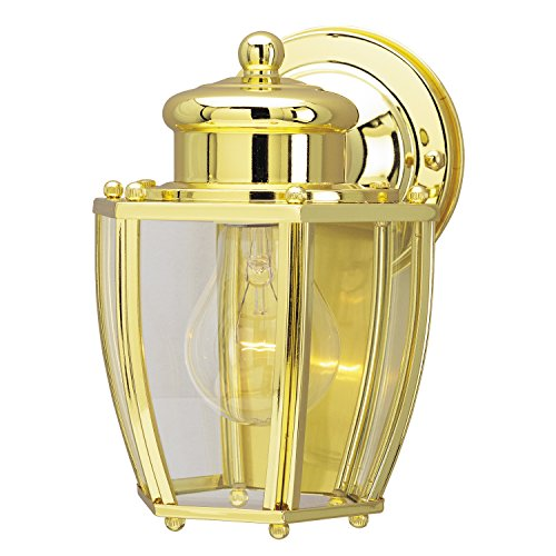Westinghouse Lighting 6796300 One-Light Exterior Wall Lantern, Polished Brass Finish on Steel with Clear Curved Glass Panels