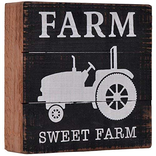 NIKKY HOME Rustic Farm Sweet Farm Tractor Decorative Wooden Box Sign Wall Decor, 6
