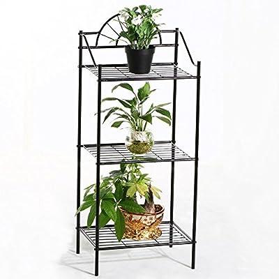 Topeakmart 3 Tier Garden Plant Stand Metal Bedside Table Corner Nightstand Black