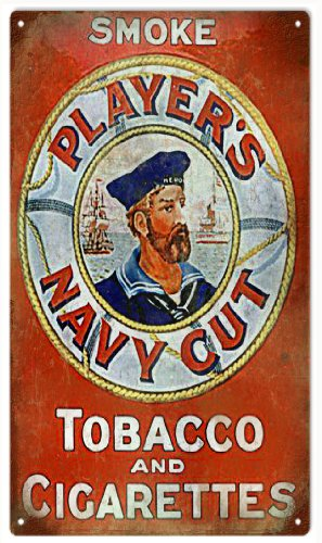 Smoke Player Navy Cut Cigarettes Tobacco Smoke Reproduction Sign (Players Navy Cut Cigarettes)