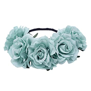 aliveGOT Rose Flower Headband Floral Crown Garland Halo Flower Crown with  Floral Wrist Band for Wedding 6495b6d4e14