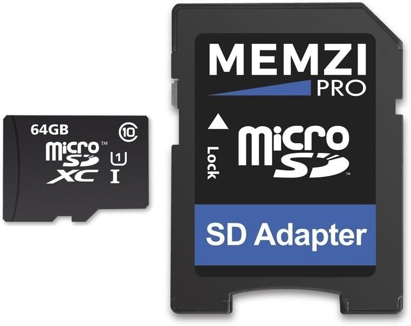 Memzi Ultima Pro 64GB Clase 1090Mb/s tarjeta de memoria Micro SDXC con adaptador SD para Motorola Moto G3, G5Plus, G4Play, G4Plus, G4funda para teléfonos