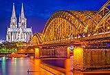 Leyiyi 10x6.5ft Photography Backdrop Vintage Cologne Cathedral Background Hohenzollern Bridge Koln Night View Vista Light Halo Love Lock German Landmark Coastle City Photo Portrait Vinyl Studio Prop