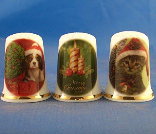 Porzellan China Fingerh/üte Set von drei/ /Frohe Weihnachten