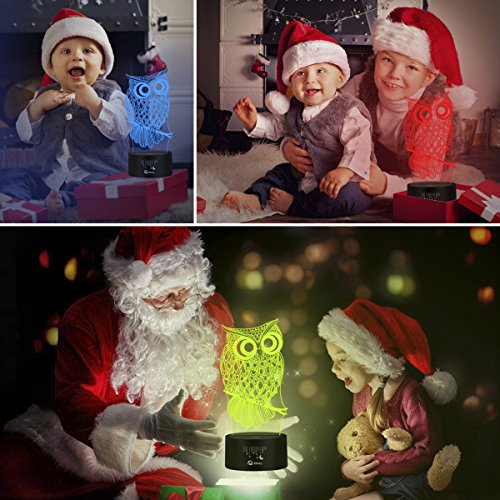 Owl 3D Illusion Lamp, Elstey 7 Color Changing Touch Table Desk LED Night Light Great Kids Gifts Home Decoration by Elstey (Image #7)'