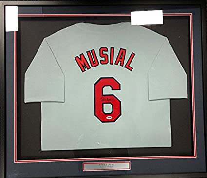 separation shoes 41732 f2e6c Stan Musial Autographed Gray St. Louis Cardinals Framed ...