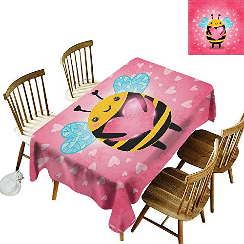Family Rectangular Tablecloth W54 x L72 Queen Bee Love Valentines Day Bumblebee Holding a Giant Heart Cartoon Style Coral Pale Blue Yellow Great for Holiday More ()