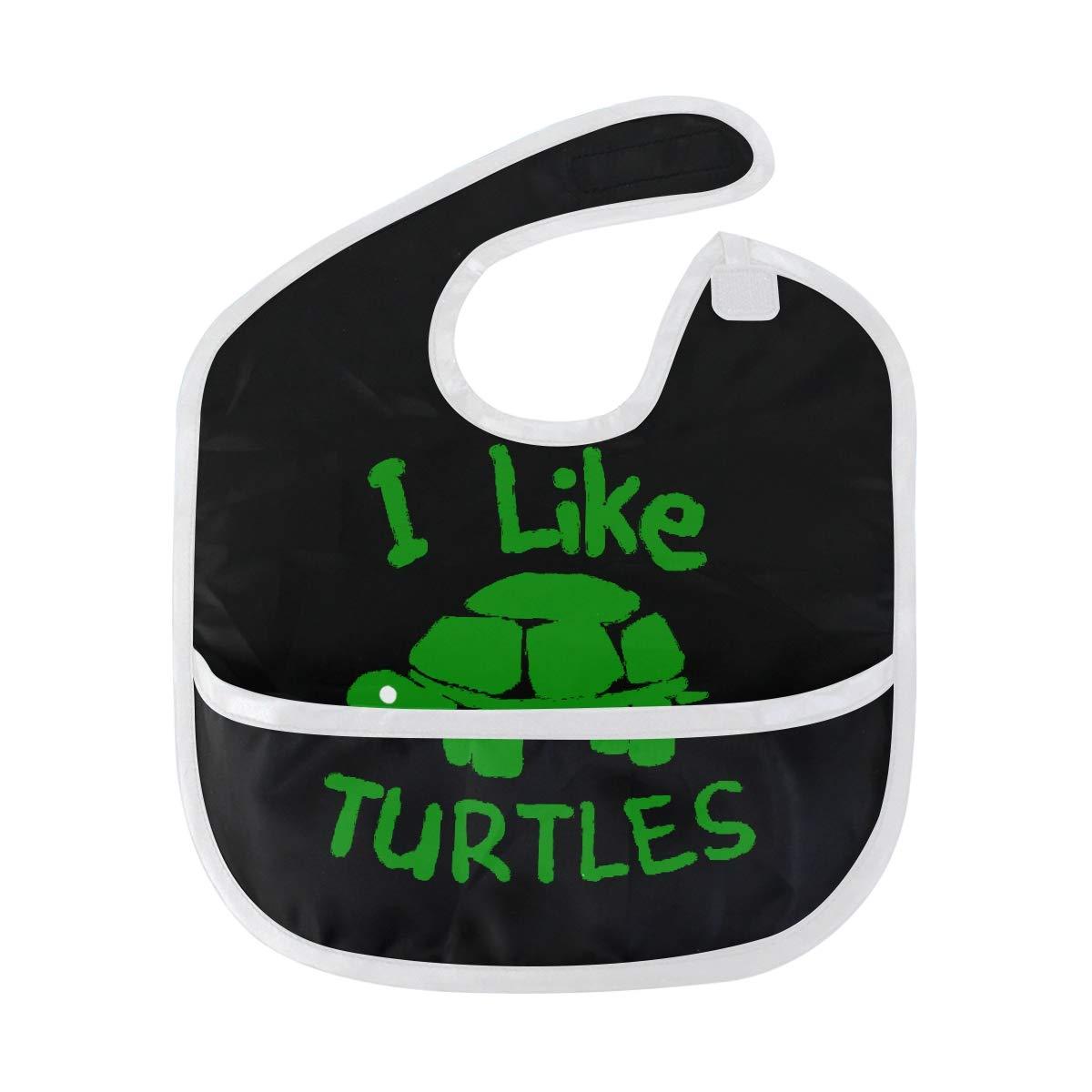 Amazon.com: Waterproof Baby Eating Bibs I Like Turtles ...
