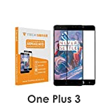 OnePlus 3 / OnePlus 3T Edge To Edge Premium Tempered Glass Screen Protector [9H] By Tech Sense Lab - Full HD, Shatterproof, Anti Scratch Screen Guard For One Plus 3 & One Plus 3T Black - Full Glue