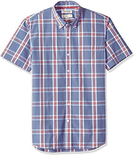 - Goodthreads Men's Standard-Fit Short-Sleeve Plaid Poplin Shirt, -denim multi plaid, X-Large
