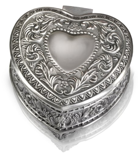 Victorian Heart Silver Locket - Small Heart Shaped Antiqued Pewter Jewelry Box (Scroll Heart, Plain, No Engraving)