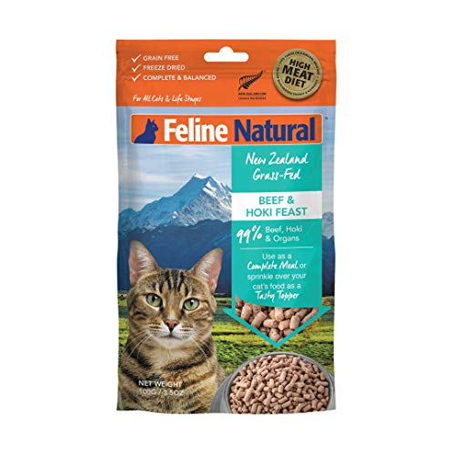 Freeze Dried Cat Food by Feline Natural - Perfect Grain Free, Healthy, Hypoallergenic Limited Ingredients for All Cats - Raw, Freeze Dried Mixer - Lamb & King Salmon - 3.5oz Pack
