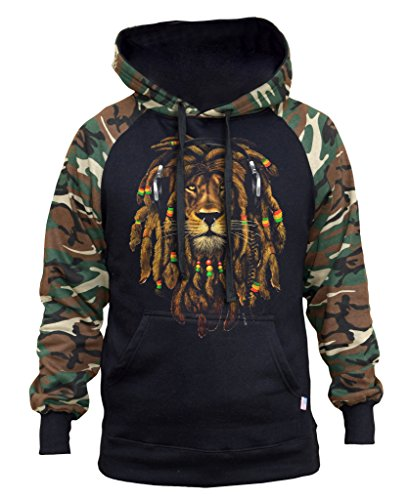 (Interstate Apparel Men's Dreadlock Rasta Lion Headphones Black/Camo Raglan Baseball Hoodie Large)