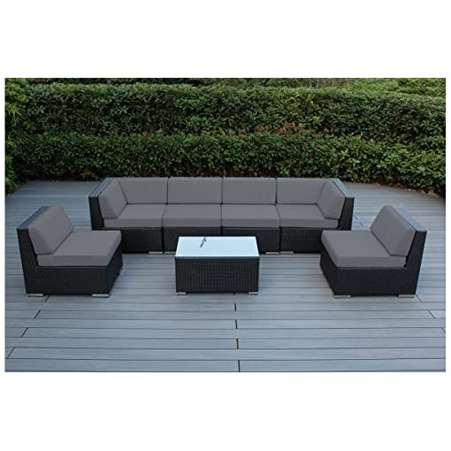 Garden and Outdoor Ohana 7-Piece Outdoor Patio Furniture Sectional Conversation Set, Black Wicker with Gray Cushions – No Assembly with… outdoor lounge furniture