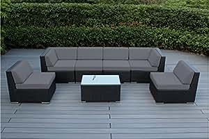 Ohana Collection - Conjunto de 7 piezas de muebles de mimbre para el aire libre