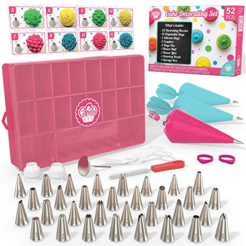 Cakebe 52 pcs Cake Decorating Supplies Kit - Icing Piping bags and Tips Cupcake Decorating Kit with 12 Frosting bags and 32 Numbered Tips - Baking Supplies and Frosting Tools Set for Cupcakes Cookies]()