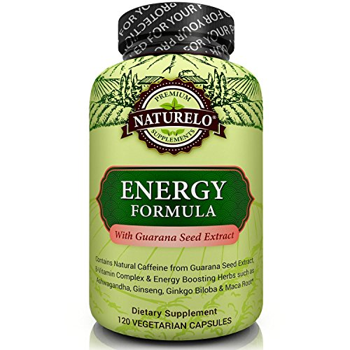 NATURELO Energy Formula – with B Complex Vitamins, Natural Caffeine, Ginseng, Ashwagandha, Rhodiola, Maca & CoQ10 – Provides Sustained Energy Boost – Non GMO – 120 Capsules