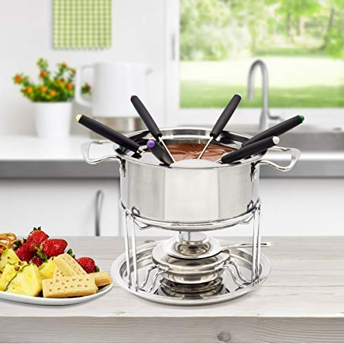 Stainless Steel Fondue Pot Inox Set WZH 13-set Fuel Fondue, Temperature Controllable, Chocolate Cheese