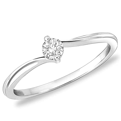 Peora Classic Proposal CZ Ring in 925 Sterling Silver Rhodium Finish
