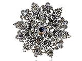 Alilang Womens Gunmetal Tone Grey Rhinestones Floral Leaf Snowflake Wreath Crest Brooch Pin