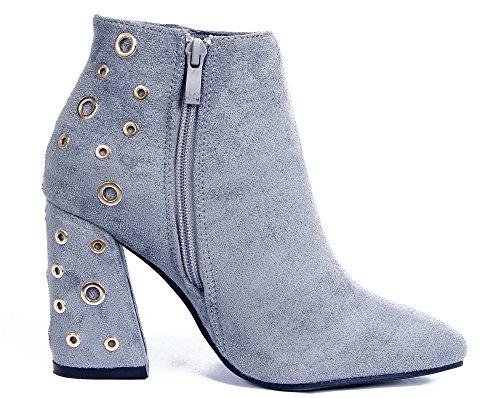 Lacets Avec Des Femme Gris Bloc Trous Ageemi Talon Hiver Moyen Shoes Bottine Bottes WCqw8Y01