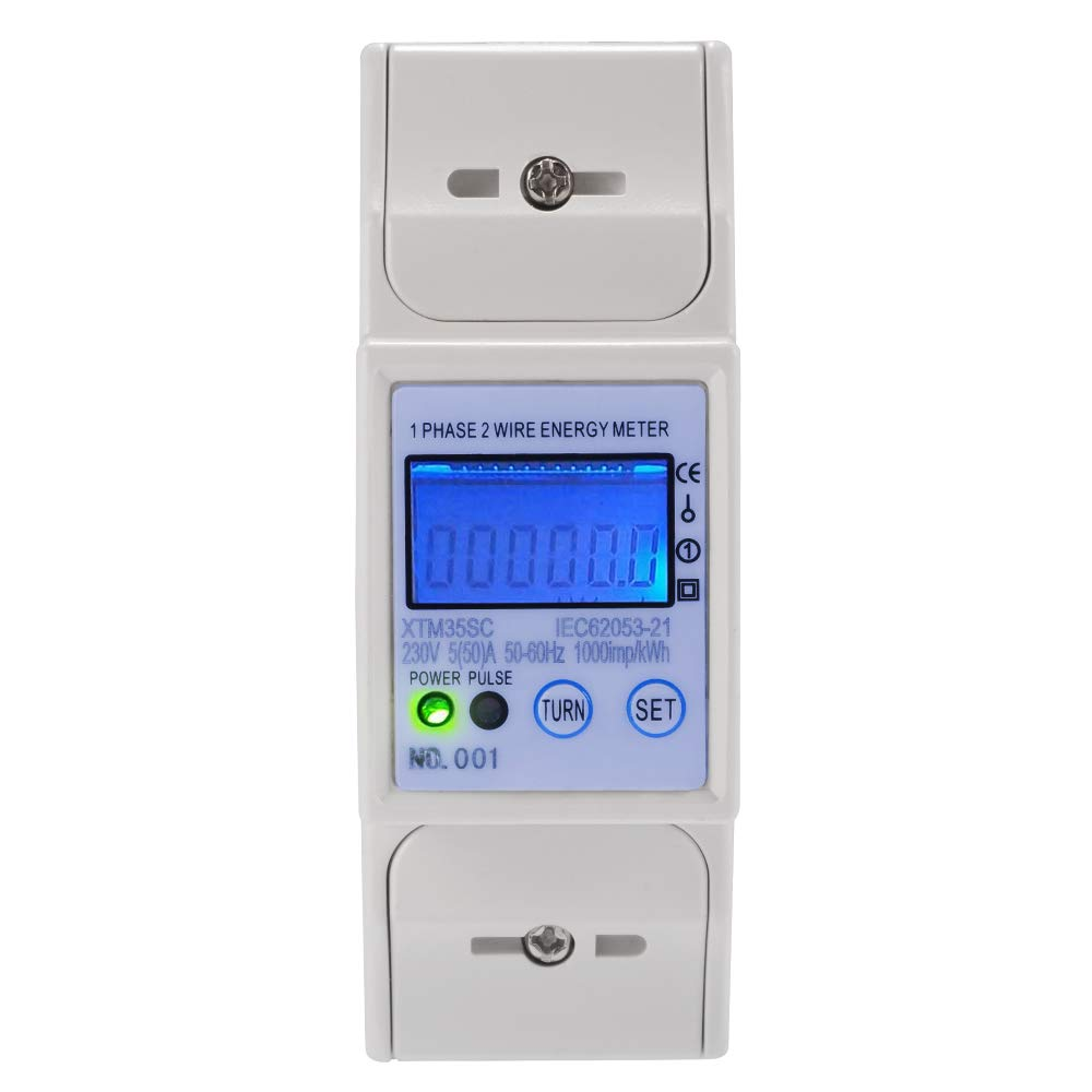XTM35SC Digital LCD 50/60Hz 5(50) A 230V Energy Meter 2P Single Phase DIN Rail Accurate with RS485 MODBUS Sun3Drucker
