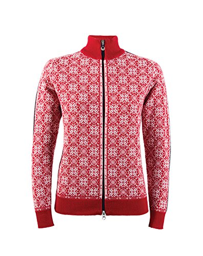 Dale of Norway Women's Frida Athletic Sweaters, Medium, Raspberry/Off White/Navy/Metal Athletic Wool Sweater