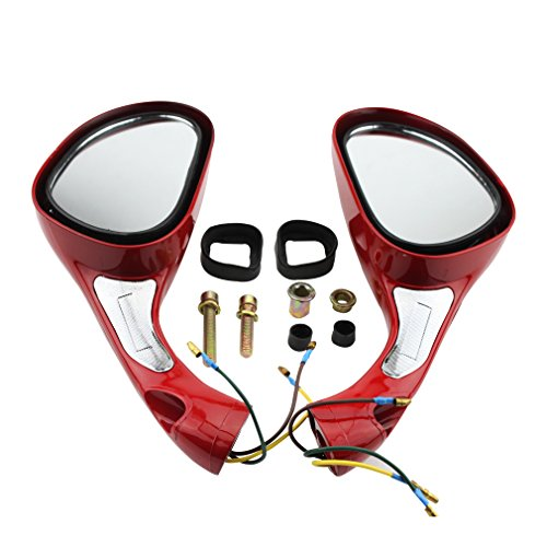 (GOOFIT One Pair 8mm Rearview Mirrors for 50cc 70cc 90cc 110cc 125cc 150cc 250cc Scooters Moped Motorcycle Red)