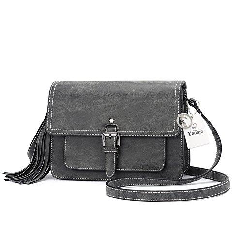 Yoome - Bolsas para mujer con borlas y bolsitas elegantes, estilo vintage Negro