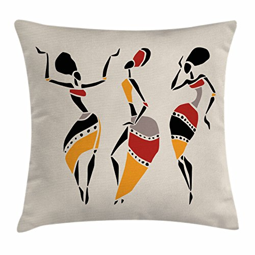 Ambesonne African Woman Throw Pillow Cushion Cover, African Dancers Silhouette Set Ethnic Native Dresses Party Carnival Tradition, Decorative Square Accent Pillow Case, 18 X 18 Inches, Multicolor