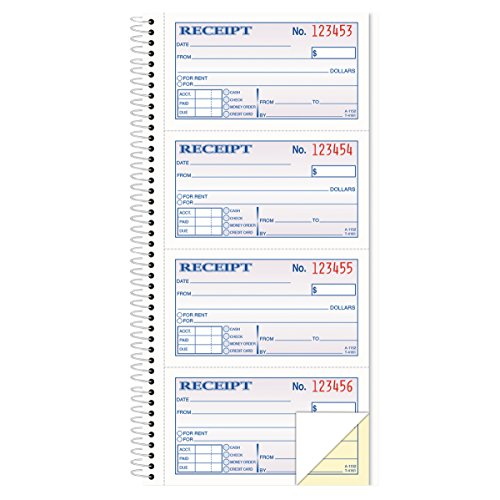 TOPS Money/Rent Receipt Book, 2-Part, Carbonless, 11 x 5.25  Inches, 4 Receipts/Page, 200 Sets per Book (4161)