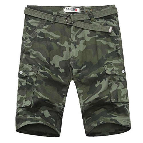 9f43f49be2 TISUN Summer Collection Mens Relaxed-Fit Camouflage Ripstop Belted Cargo  Shorts outlet
