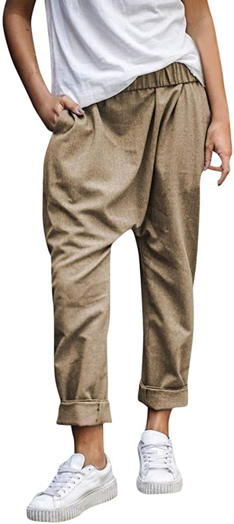 ZYUEER Pantaloni Leggins Donna Vita Alta Strappati Svago Skinny Stretti Slim con Elastico,Lanterna Casual da Taglie Forti Tinta Unita Harlan Lady Lunghi