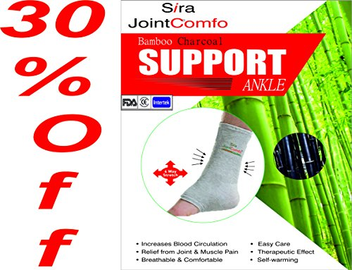 Sira Bamboo Charcoal Ankle Sleeve,Copper Compression Ankle Sleeve,Arthritis,Swelling,Muscles & Joint Pain Relief,Gymnastic Support Sleeve,Sports Supports,Heel Pain & Support,Ankle Pain & Support (L) (Bamboo Support Charcoal Ankle)