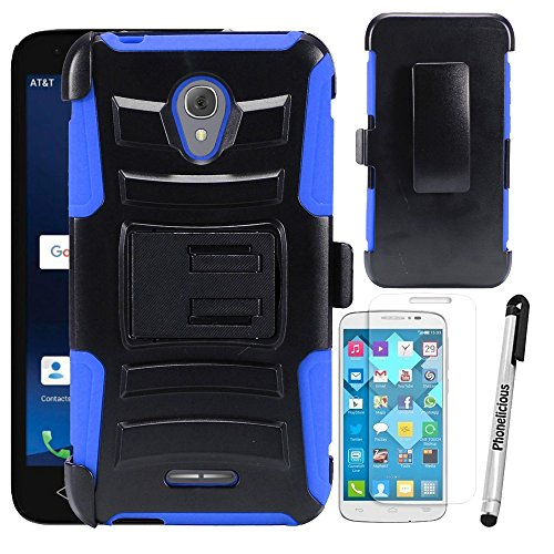 For ALCATEL RAVEN A574BL Case, Phonelicious Xtreme Armor [Heavy Duty] Hybrid Dual Layer Kickstand Belt [Holster Clip] Combo Rugged Tuff Free Screen Protector & Stylus (BLUE XC)