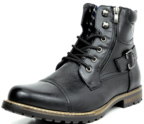 Bruno Marc Men's Philly-3 Black Military Combat Boots – 6.5 M US
