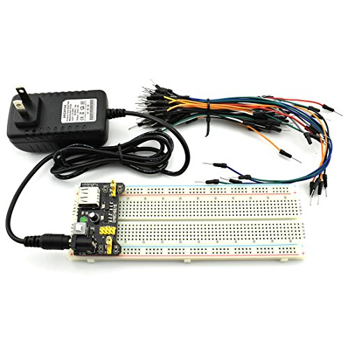 HJ Garden Electronic Component Power Supply Module Assorted Kit for Arduino, Raspberry Pi, STM32, UNO, MEGA2560 830P Breadboard + Power Module + Jumper + 12V 1A Adaptor by HJ Garden (Image #5)