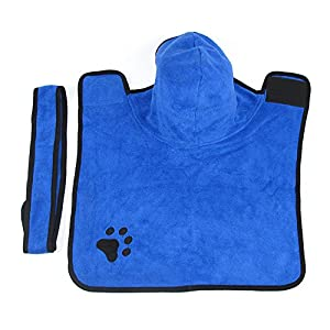 Petacc Microfiber Dog Bathrobe Fast Dry Pet Bath Towel Water-absorbent Pet Drying Towel for Dogs and Cats, Machine Washable (L)