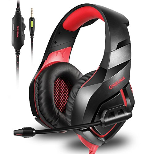 ONIKUMA Stereo Gaming Headset for PS4 Xbox One, Over Ears Headset with Noise Canceling Microphone for Nintendo Switch PlayStation 4 Laptop Smartphones and PC 3.5mm ()
