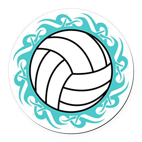 CafePress - Tribal Volleyball Round Car Magnet - Round Car Magnet, Magnetic Bumper -