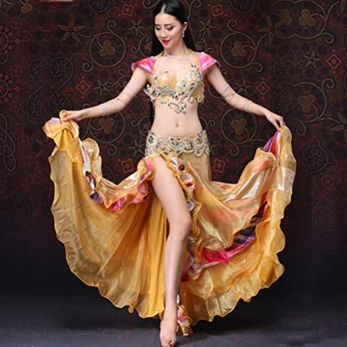 Del Ventre Abbigliamento Gold l Tuta Da Di Prestazione Competizione Vestiti Set Wqwlf Per Le Danza Donne Professionale Xl Costumi E Carnevale Reggiseno Gonna BOgnIWXq