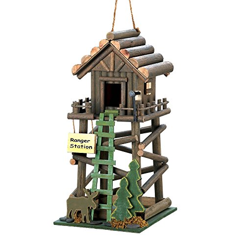 Ranger Station Cabin Birdhouse with Moose, Pine Tree and Ladder