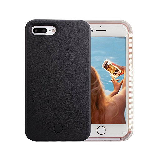 iPhone 7 Plus Case, iPhone 8 Plus Case, Wellerly LED Illuminated Selfie Light Cell Phone Case Cover [Rechargeable] Light Up Luminous Selfie Flashlight Case for iPhone 7 / 8 Plus 5.5inch (Black)