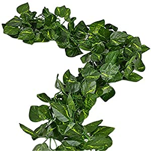 156 feet Fake Foliage Garland Leaves Decoration Artificial Greenery Ivy Vine Plants for Home Decor Indoor Outdoors (Scindapsus Leaves) 15