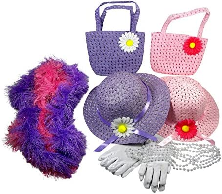 Butterfly Twinkles Girls Tea Party Dress Up Set Hats Purses Boas Gloves Necklaces Pink Purple Morgan