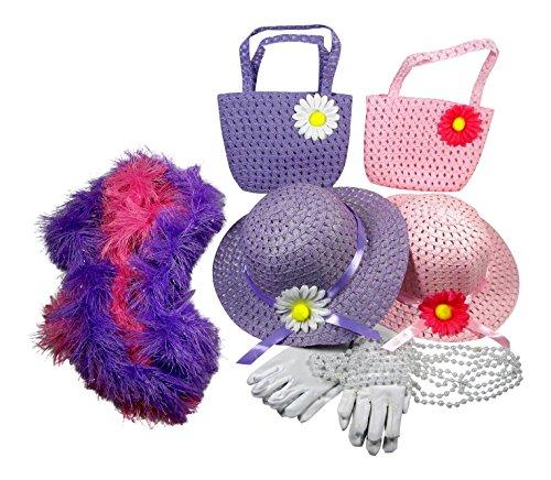 Girls Tea Party Dress Up Set Hats Purses Boas Gloves Necklaces Pink Purple Morgan
